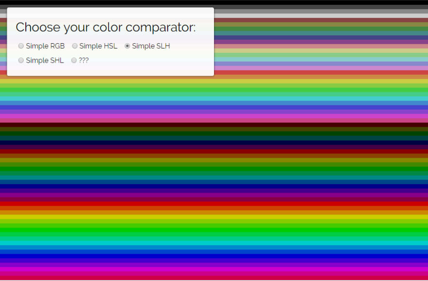 A screenshot of my color sorting project. It does not look very good. If you are visually impaired, and that's why you're getting this text, you aren't missing much.