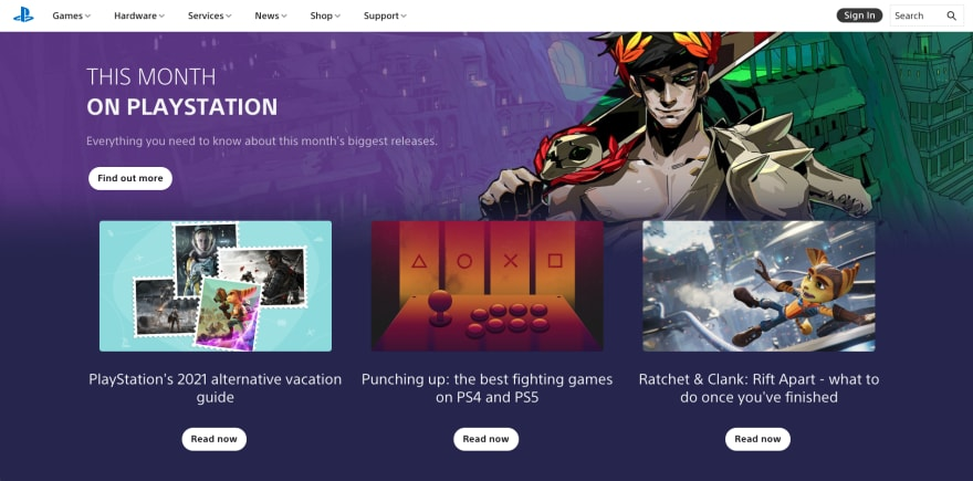 Playstation website section