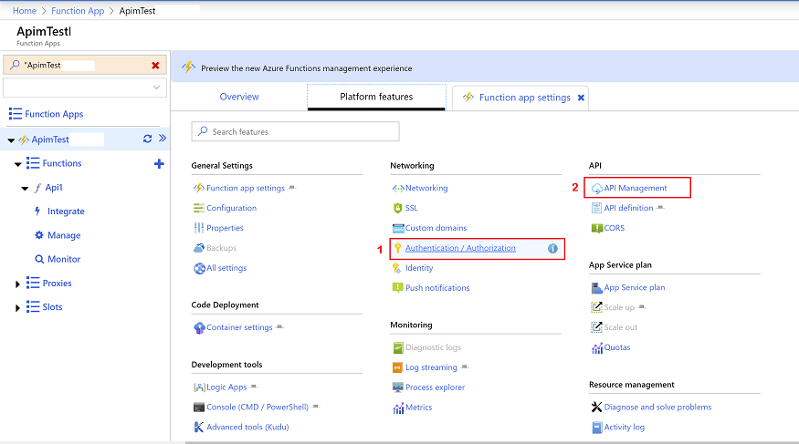 Azure Function Settings