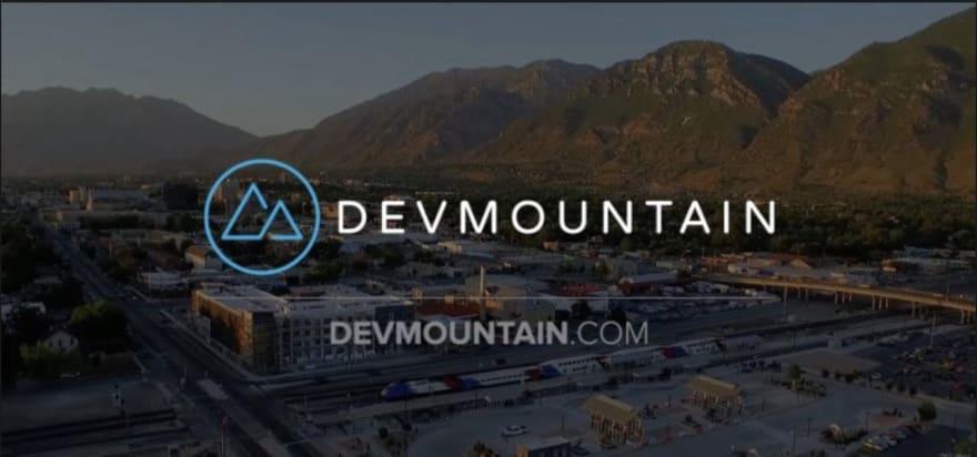 DevMountain logo and photo of mountains