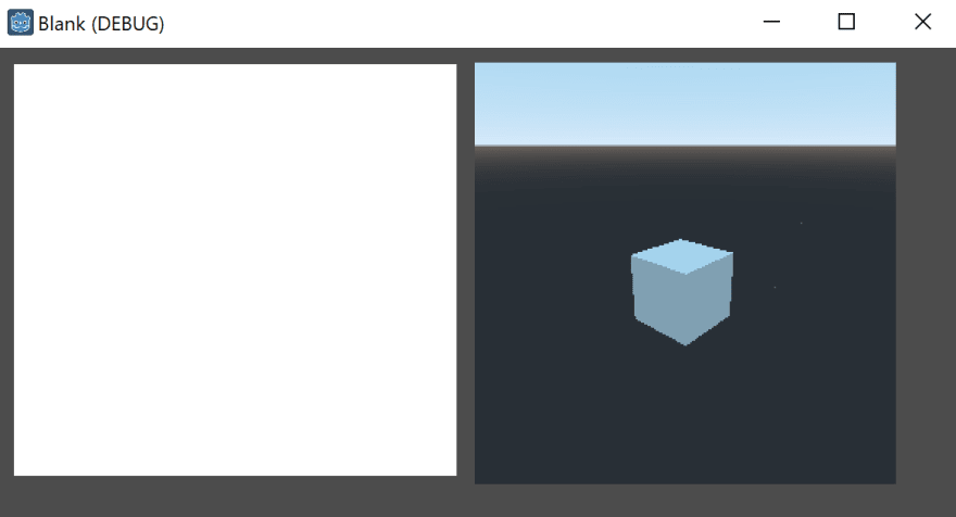 UI Element on the left, 3D scene on the right