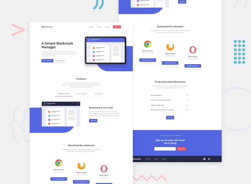 Design preview for the Bookmark landing page challenge