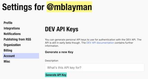 Generating an API key