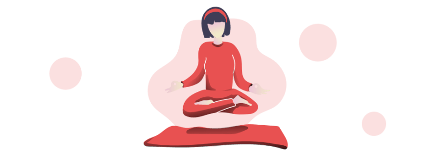 illustration of woman in lotus pose hovering above yoga mat