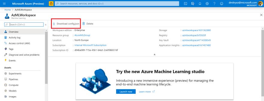 Configuração do Portal do Azure ML