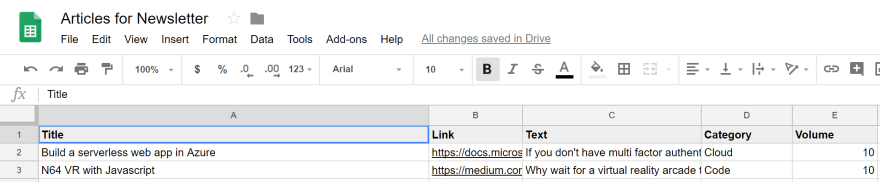 Learn By Doing Newsletter Google Sheet