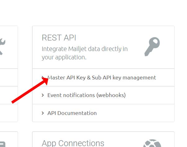 Select 'master API keys and& sub API key management