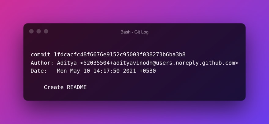 Git log for commit done from github.com