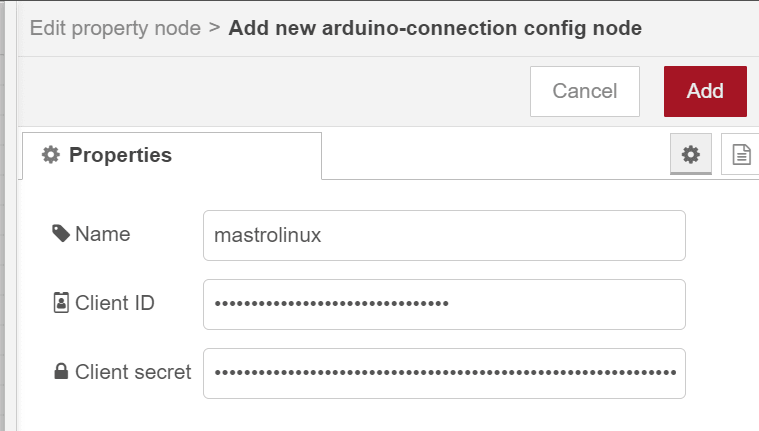 Arduino Connection Configuration