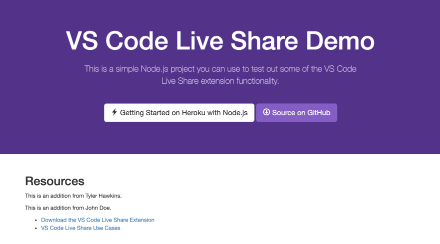 Demo app running locally on localhost:5000