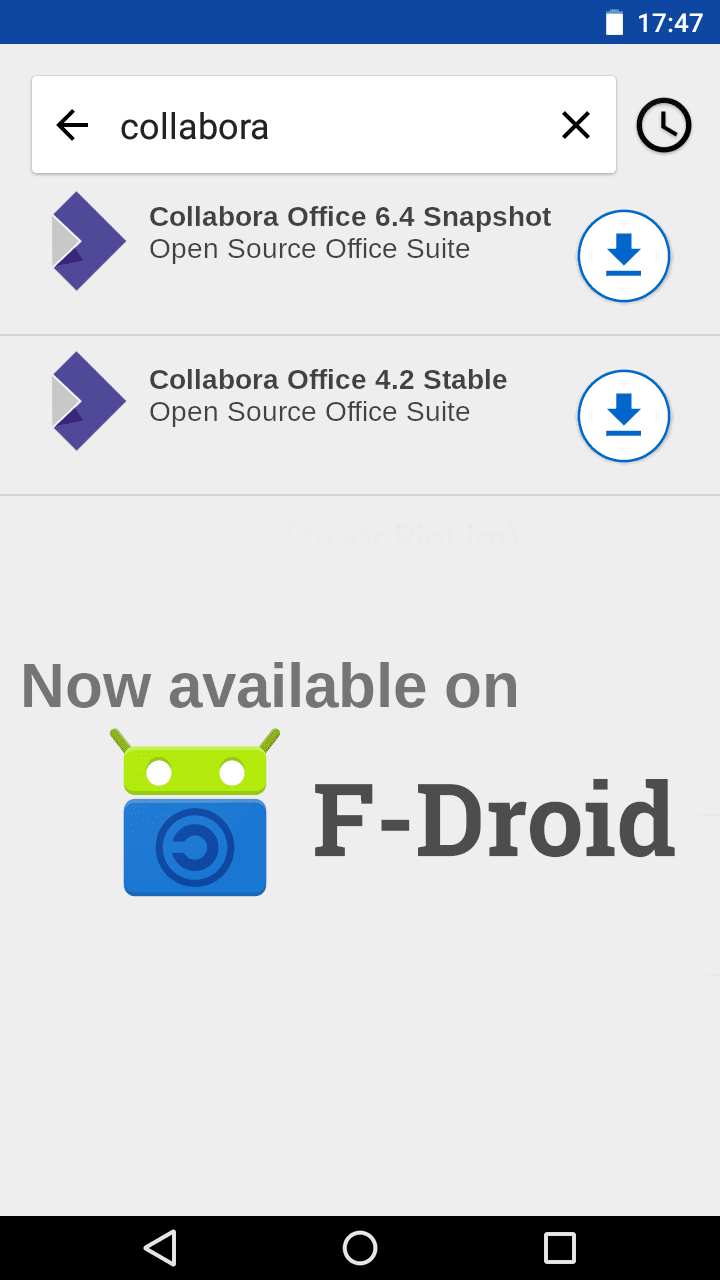 The search results for Collabora Office on F-Droid when our third party repo has been defined.