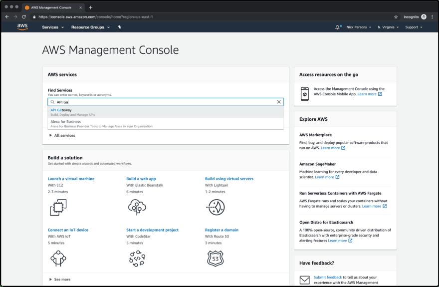 AWS Dashboard – API Gateway