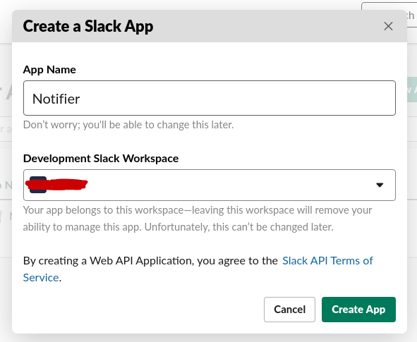 Slack Create App Dialog