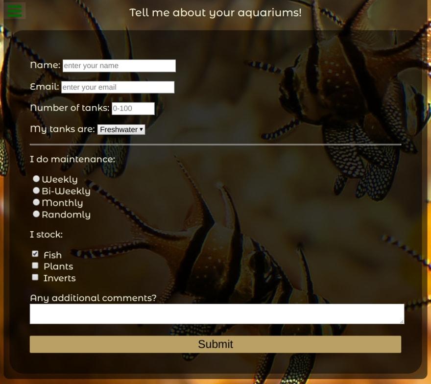 Screenshot of aquarium survey page