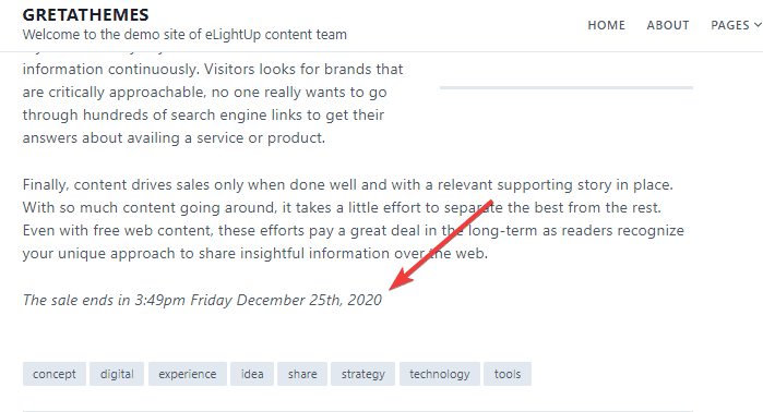 Edit the notification on the footer about the post expiration date