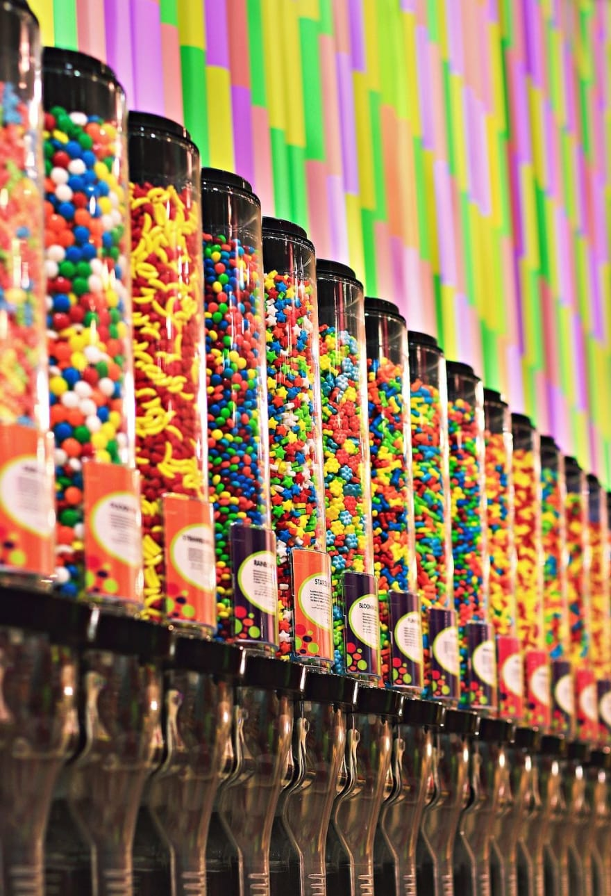 Vertical candy containers