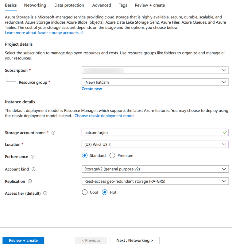 The create storage form filled in