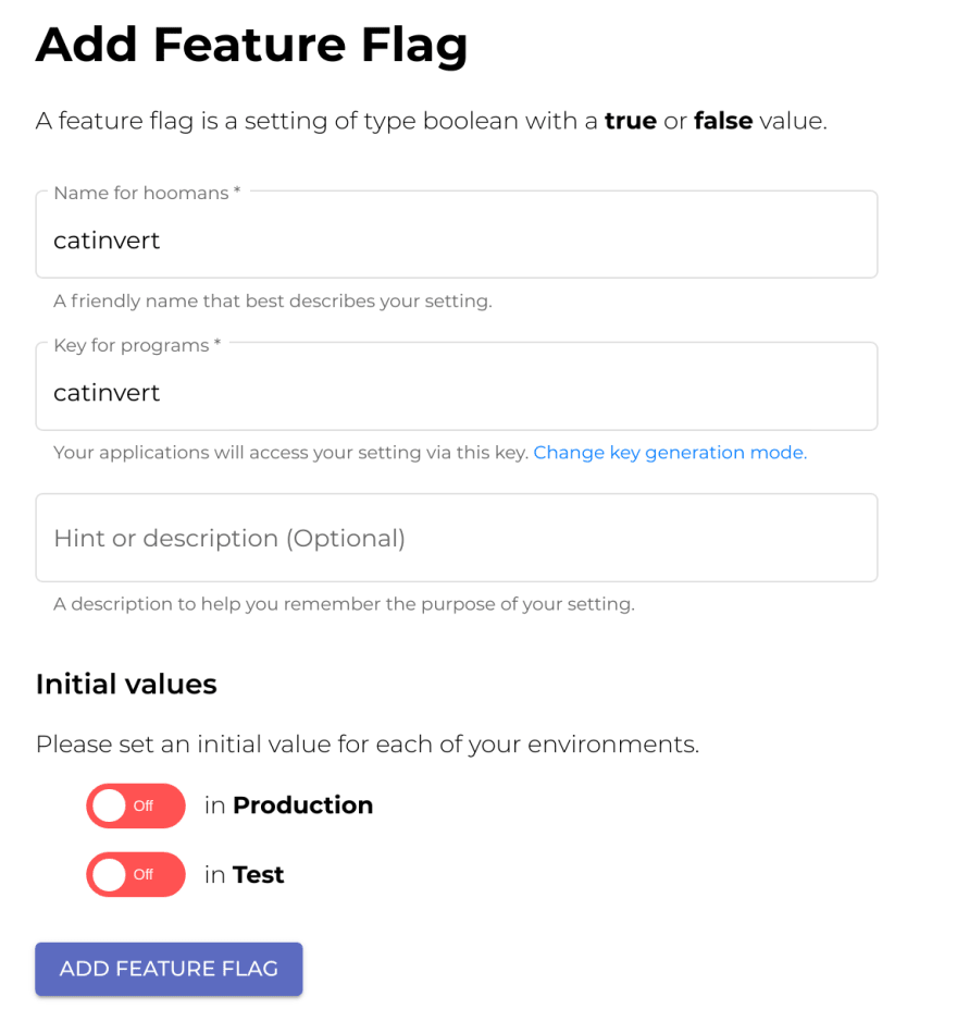 ConfigCat add feature flag