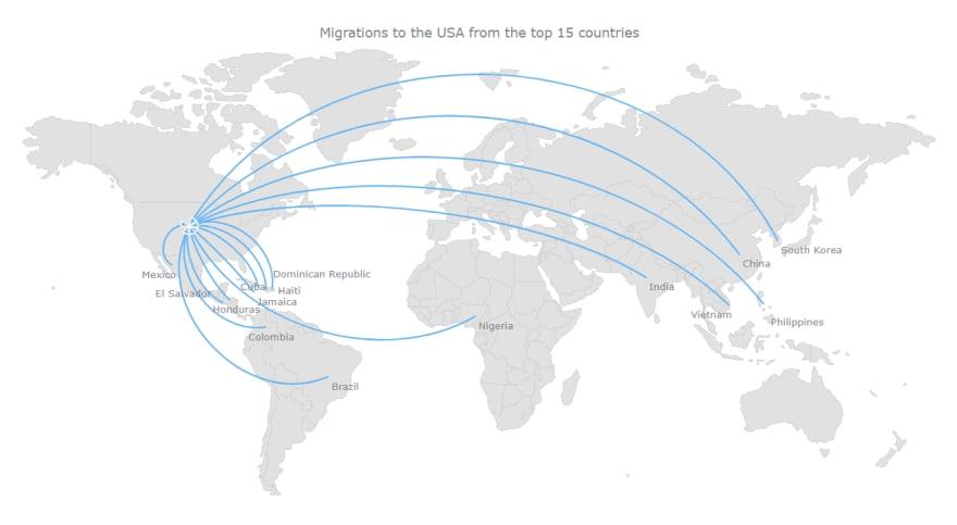 A basic interactive JavaScript flow map