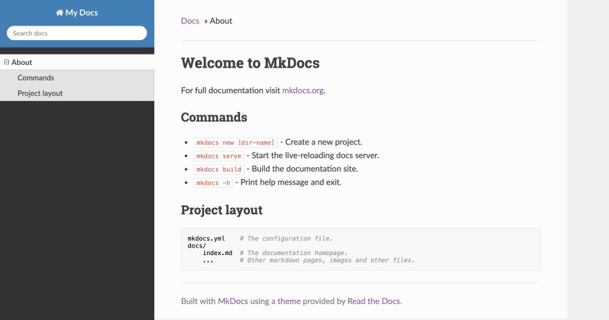 mkdocs generated website with readthedocs theme