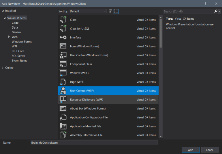 Visual Studio 2019's Add Item Dialog with a new User Control (WPF) selected and a name of BrainInfoControl.xaml