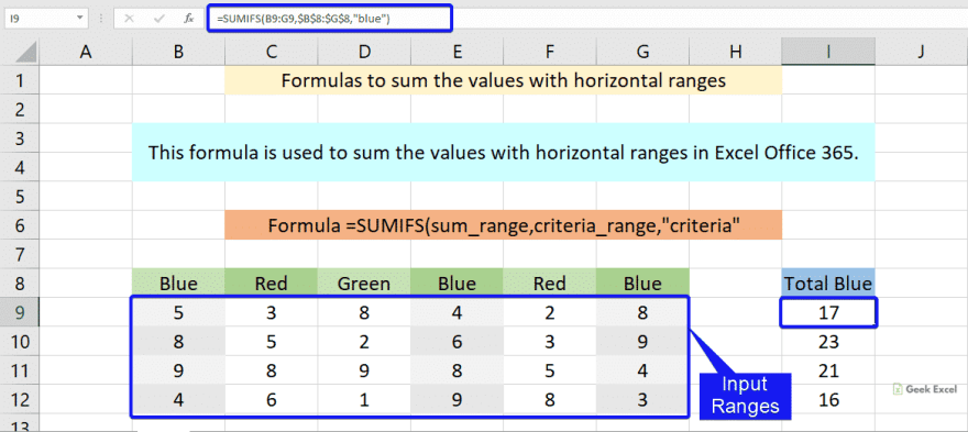 Formulas to sum the values with horizontal range