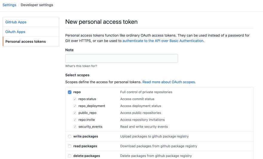github token generate page