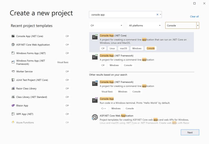 VS2019 New Project