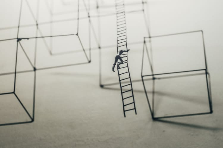 Man climbing the ladder