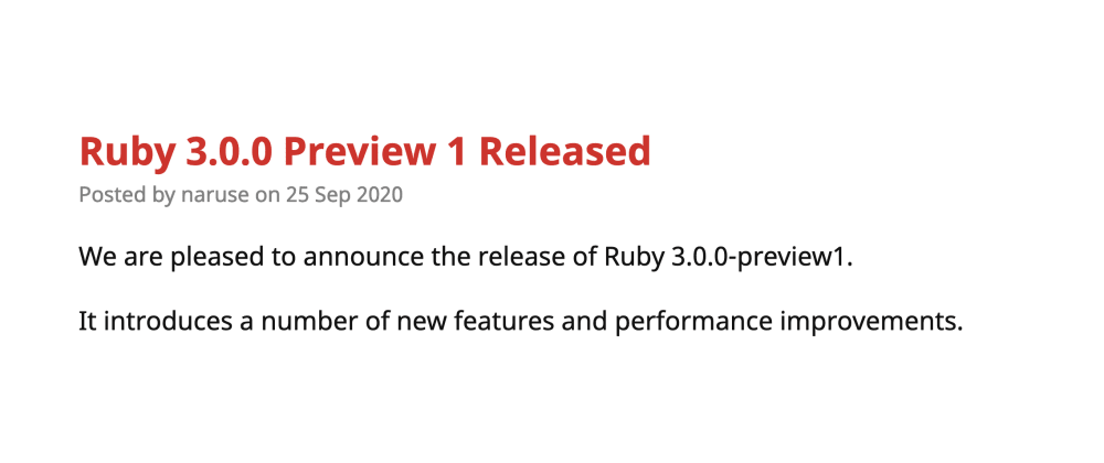 Cover image for Ruby 3.0.0 Preview 1 Released