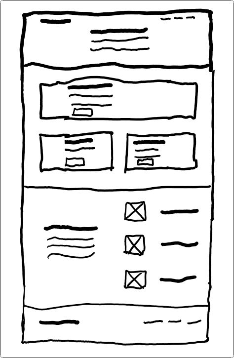 Wireframe drawing of a website