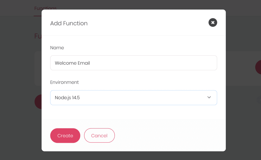 Create Function Dialog