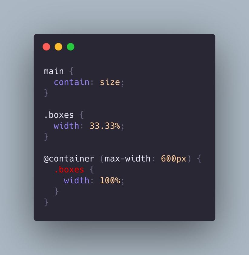 Código ejemplificando los container queries