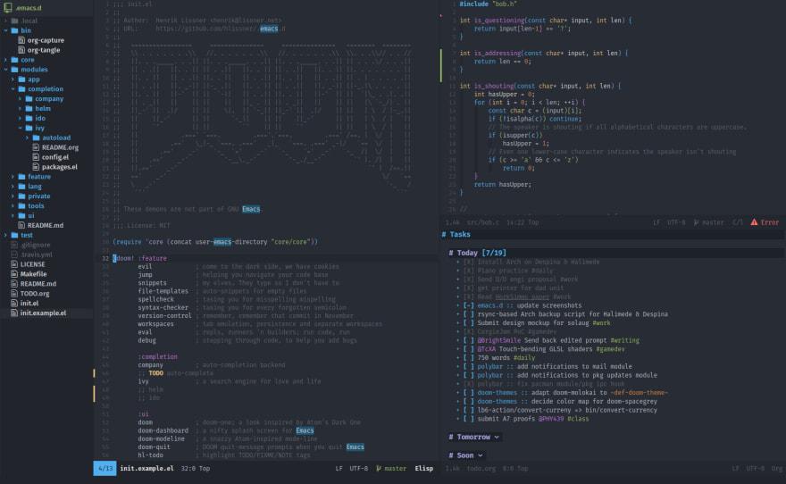 Doom emacs screenshot