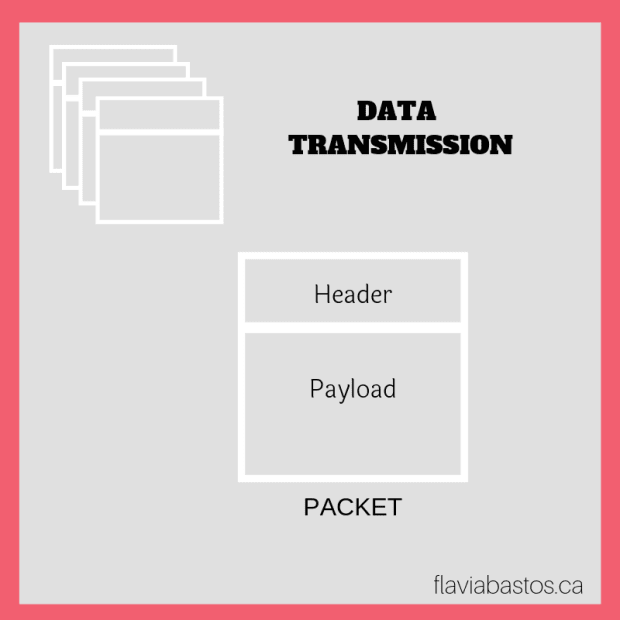 Image for data transmission showing the parts of a packet (header and payload)
