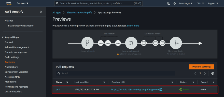 AWS Amplify Preview section listing out the pull requests and their previews