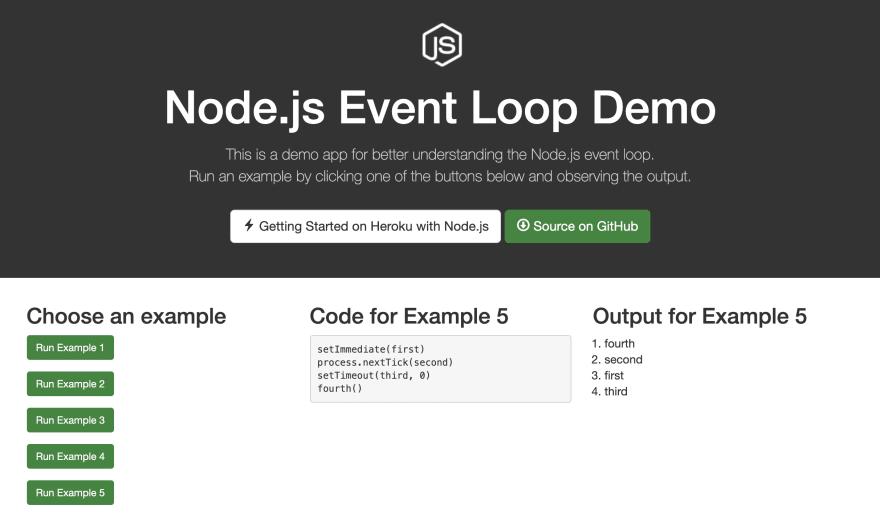 Node.js event loop demo app