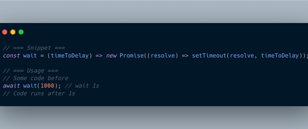 Cover image for Await a setTimeout