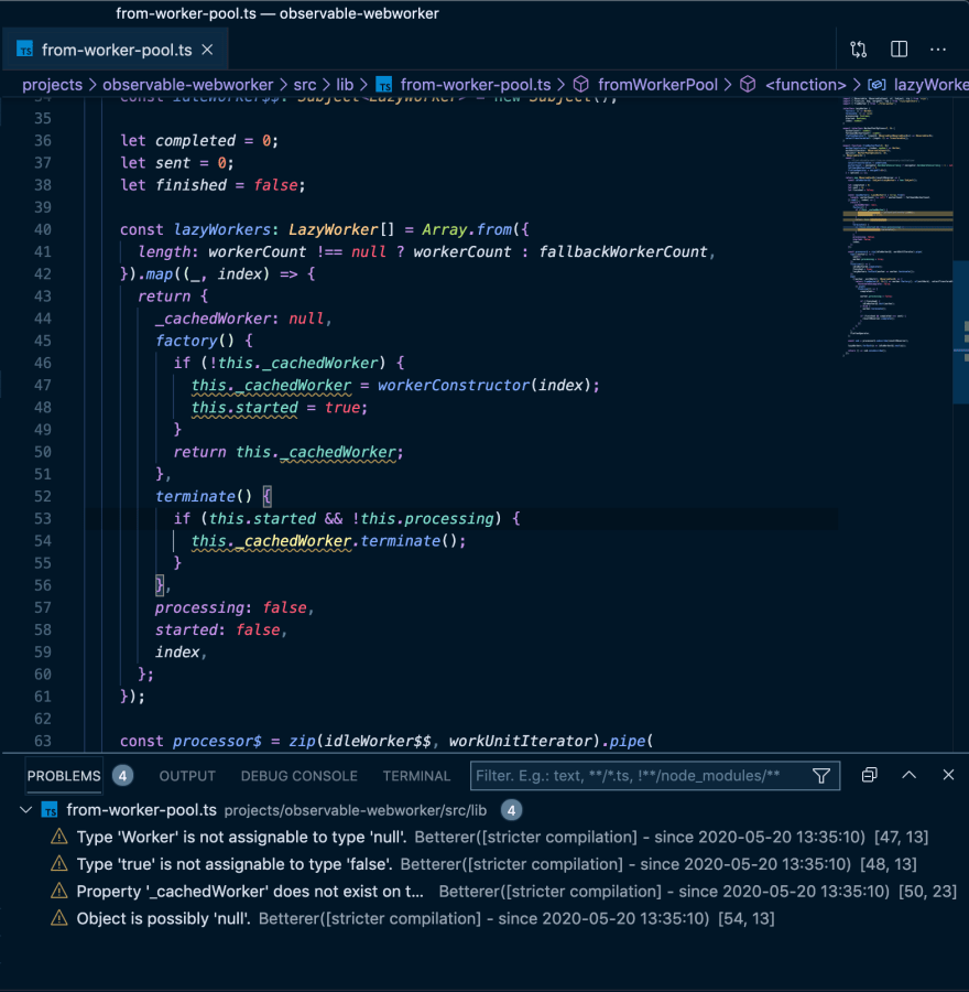 Screenshot of VS Code showing four issues in a TypeScript file.