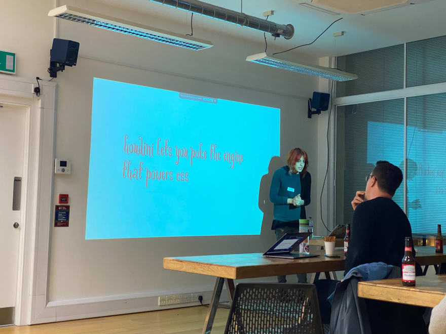Laura Gonzalez presenting at the MMT Tech Meet-up on the topic of Houdini CSS