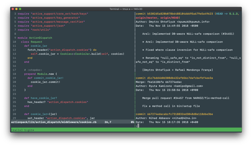 A screenshot showing Vim and a git diff in tmux, colored with appsignal.terminal's dark version.