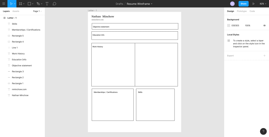 Wireframe of resume built in Figma
