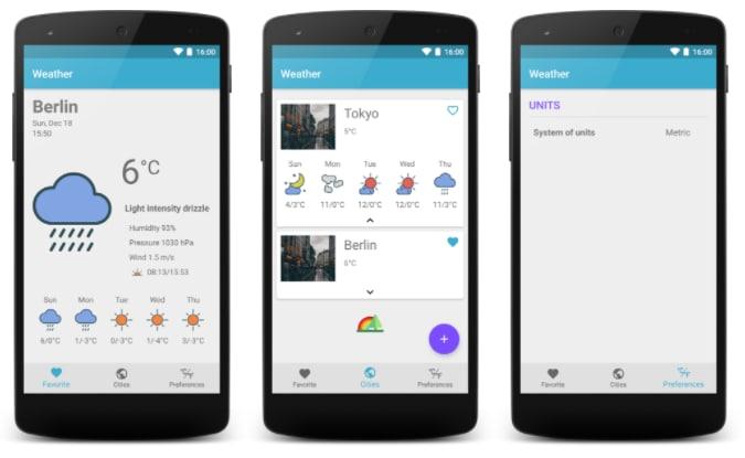 Screenshot of my weather app