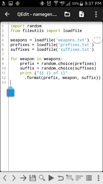 QPython3 Namegen Code