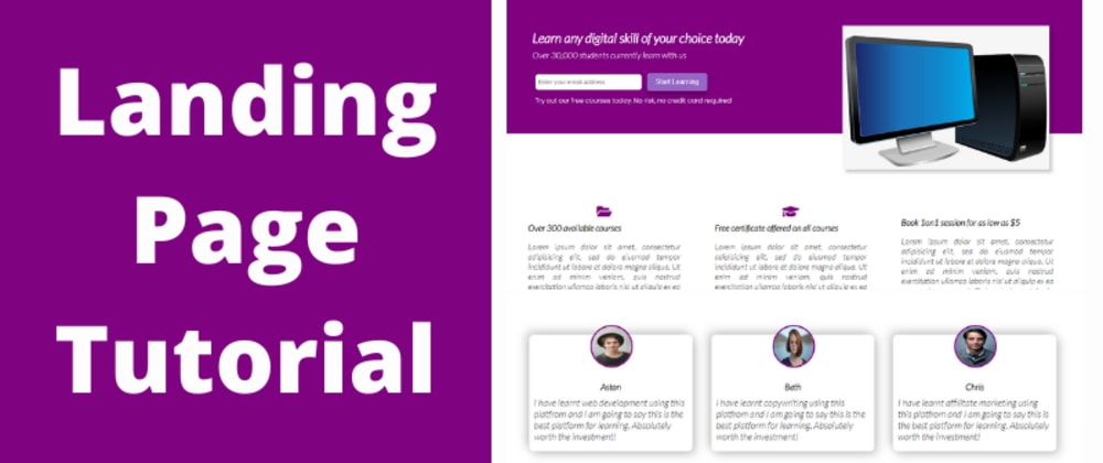 Cover image for CSS Tutorial – Build a landing page using just HTML and CSS featuring Flexbox and Grid.