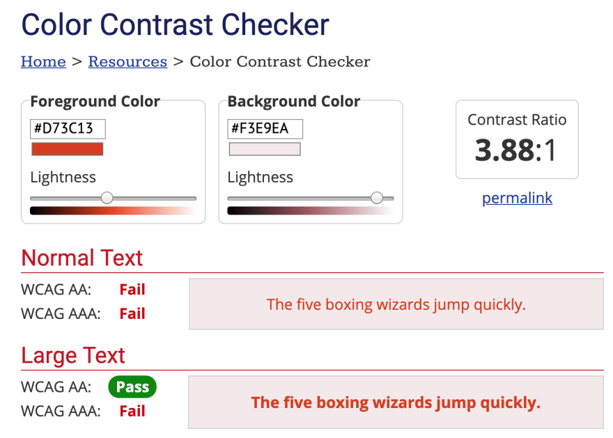 Screenshot of the Color Contrast Checker that tests custom foreground and background colors.
