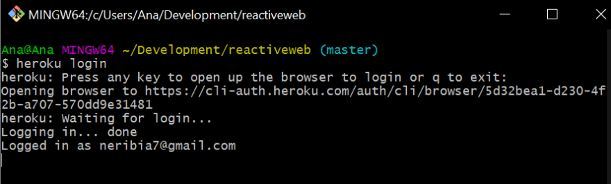 terminal processando o login no heroku