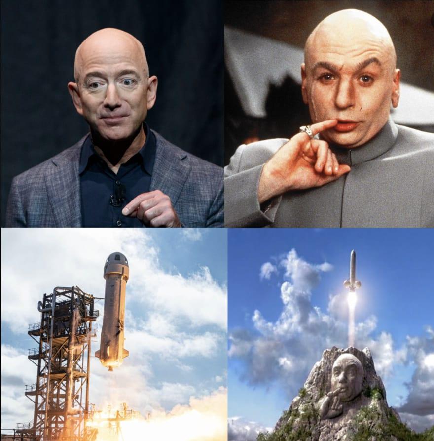 Bezos and a rocket looking evil