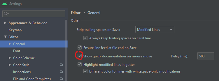 Android Studio settings with Show quick documentation on mouse move highlighted