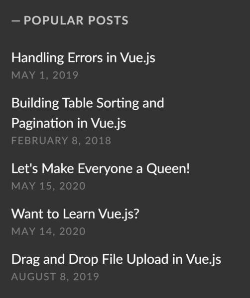 List of Popular Posts